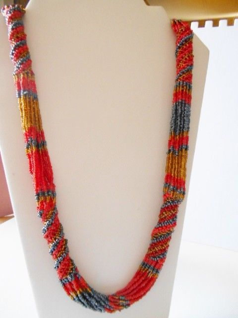 MULTI STRAND MULTI COLOR GLASS SEED BEAD NECKLACE EARRING SET