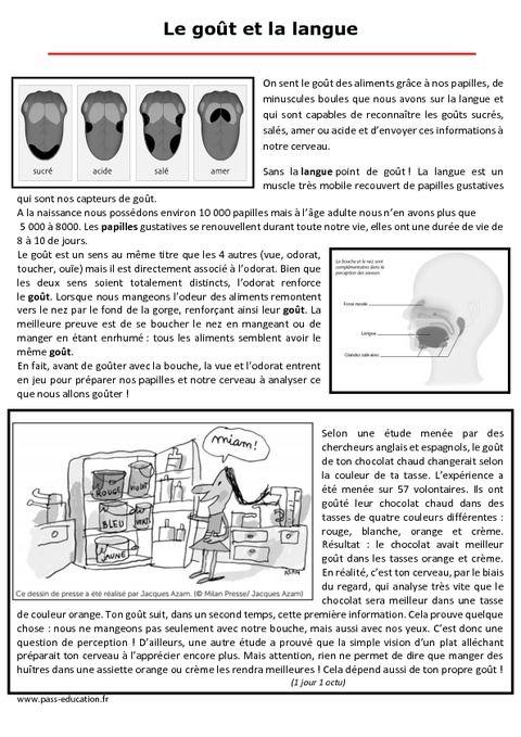 Le Gout Et La Langue Semaine Du Gout Texte Documentaire Ce2 Cm1 Cm2 Semaine Du Gout Ce2 Cm1 Cm2