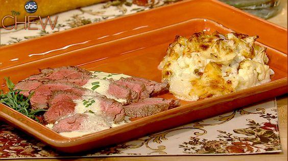 Julia Child's Pan Seared Sirloin with Cauliflower Gratin recipe. #thechew