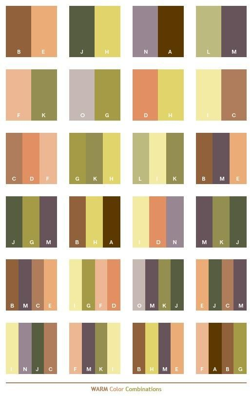 Warm color schemes, color combinations, color palettes for print (CMYK) and Web (RGB   HTML)