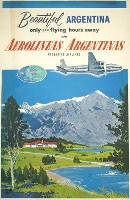 "Afiche vintage de ""Aerolineas Argentinas"" - lbk-:"