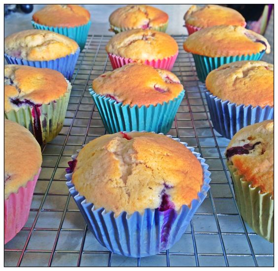 Blueberry and strawberry 'muffins' - recipe (for Blueberry and creme fraiche cupcakes) from Dan Lepard's Short and Sweet
