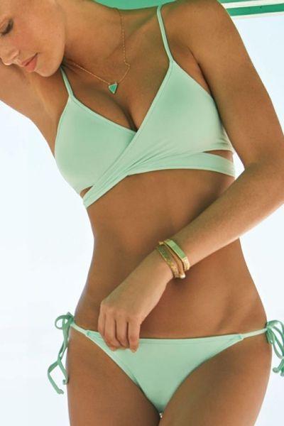 Crossed Solid Color Sexy Bikini Set