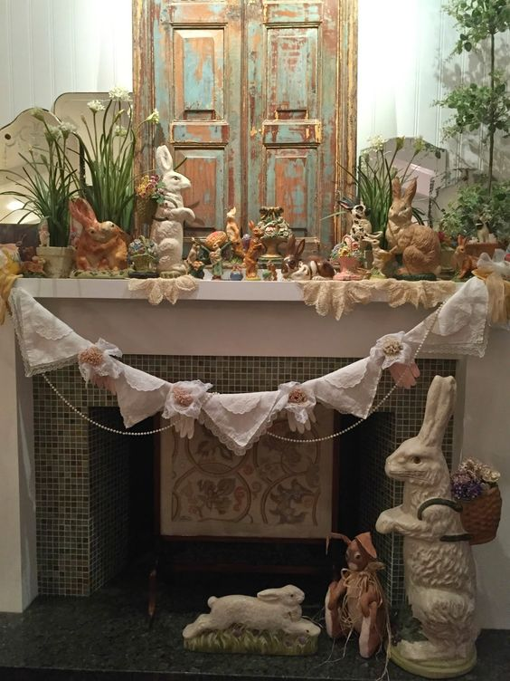Easter mantel with handkerchief and vintage glove swag! via Purple Chocolat Home: