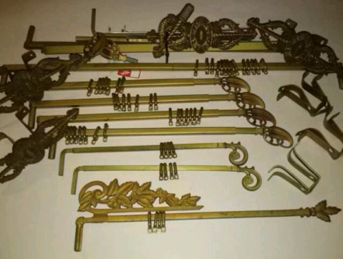 Curtains Ideas curtain rod and rings : Vintage Assortment of Victorian Curtain Rod Extends Brackets Rings ...