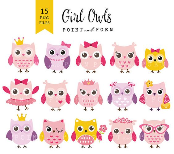 Girl Owl Clip art Owls Baby Shower Digital Owl by pointandpoem