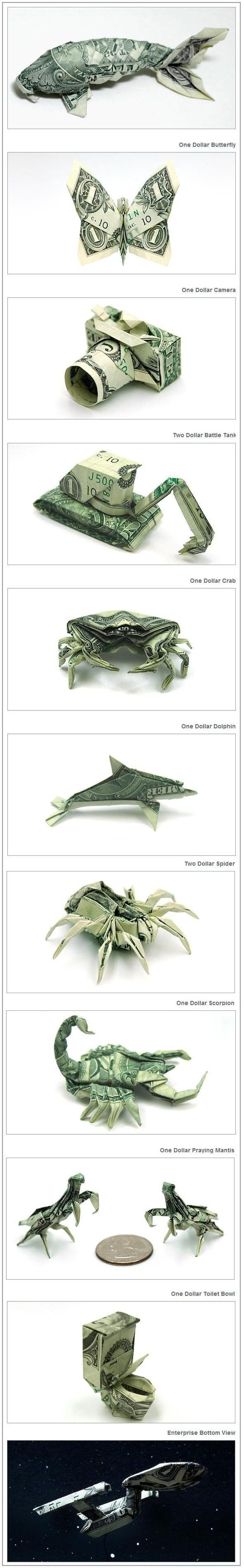 We love us some origami we could use this and donate the for Dollar bill origami fish