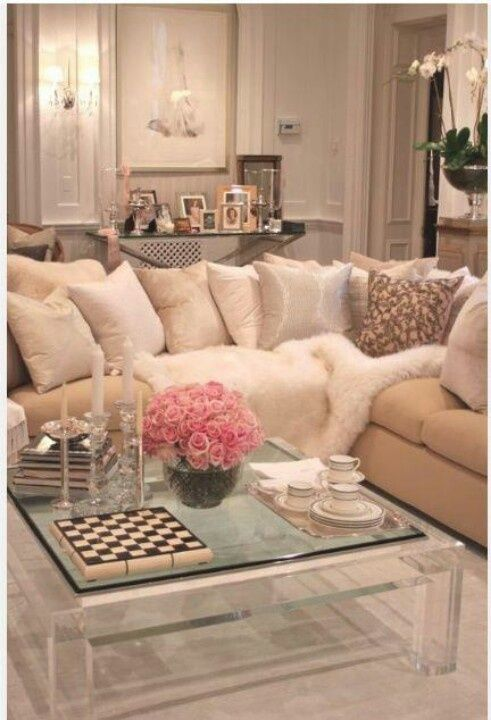 square Lucite table, comfy couch, decorative pillows, console table décor - living room