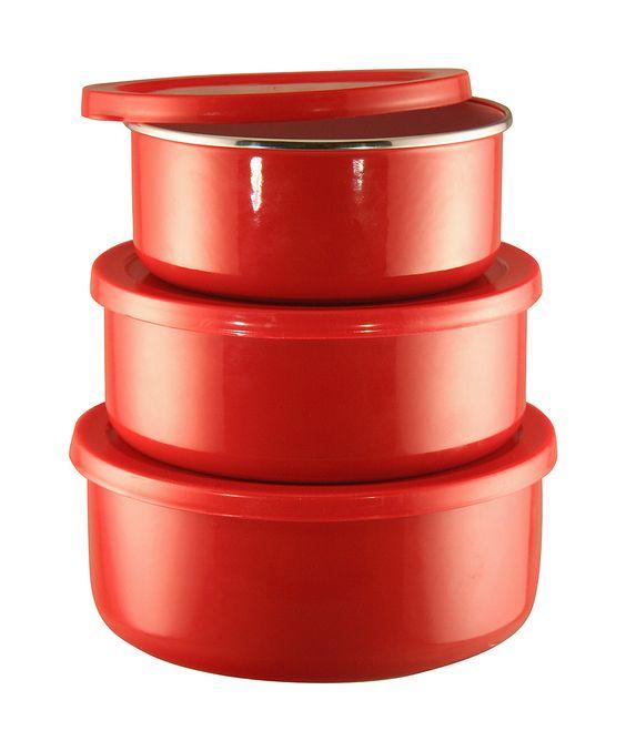 Reston Lloyd Red Enameled Steel Three-Piece Bowl Set | zulily