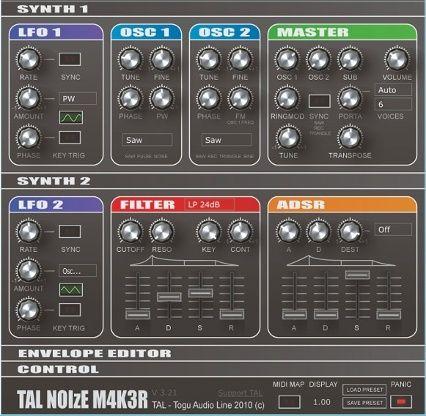 In unserem Tutorial zeigen wir euch die grundlegenden Synthesizer-Funktion an Hand des Noise Maker von TAL (Togu Audio Line), der nicht nur erstaunlich viel kann, sondern auch für Mac und PC und sogar in 32- und 64-Bit-Varianten umsonst zu haben ist. Der Noise Maker läuft allerdings nicht standalone, d. h., er braucht ein Host-Programm, in dem er als VST-Instrument (oder beim Mac auch als AU) eingebunden wird.