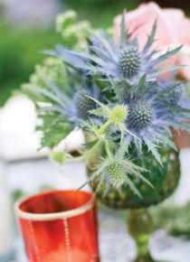 floral centerpiece in goblet blue pink green event party wedding from flower magazine