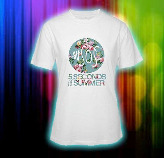 5SOS Five Seconds Of Summer Floral Logo Custom T-shirt, print screen T-shirt, Awesome T-shirt for Men, Size s --> 5xl