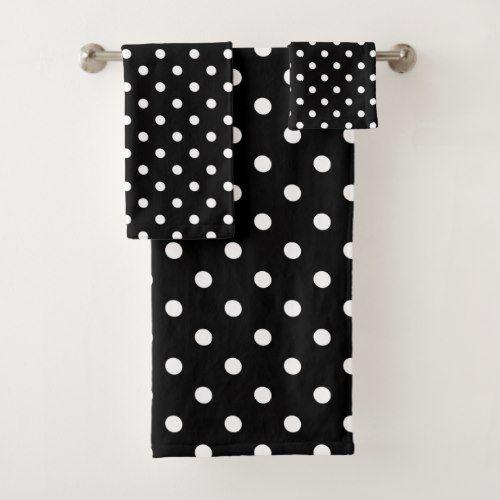 Black Polka Dot Bath Towel Set Zazzle Com With Images Bath