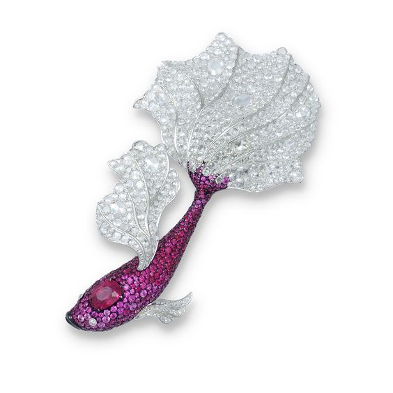 Rosamaria G Frangini | High Pink Jewellery | CARNET. A ruby, pink sapphire and diamond brooch.