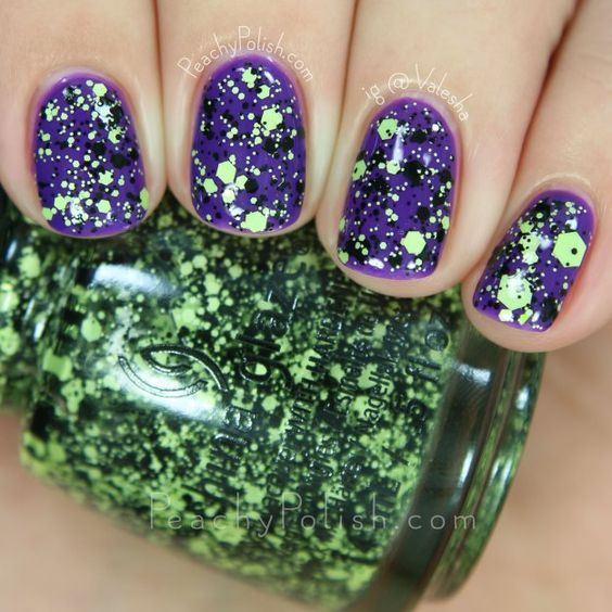 China Glaze Something's Brewing layered over Looking Bootiful   Ghouls Night Out Collection   Peachy Polish - I LOVE THIS: