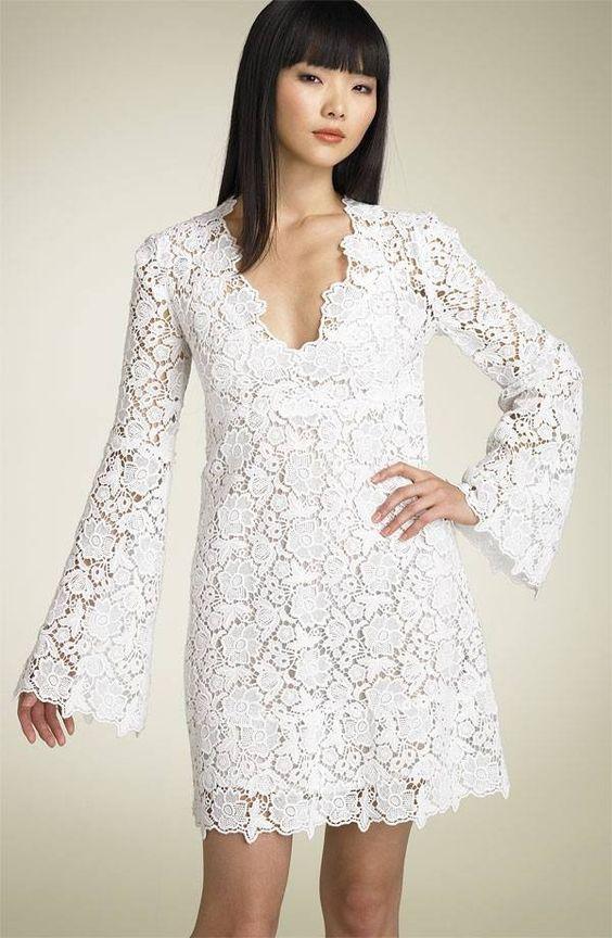 Informal Short V-neckline Long Sleeves Lace Bridal Dresses