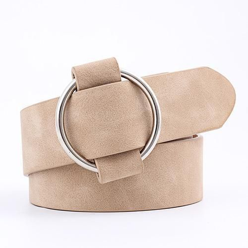 105cm,Khaki New Fashion Womens Round Buckle Belt Casual Ladies Belts For Jeans Leather Belt