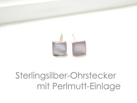 Ohrstecker+Quadrat+Silber+925+Perlmutt++von+DeineSchmuckFreundin+-+Schmuck+und+Accessoires+auf+DaWanda.com