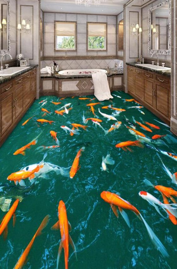 Bring your floors and home to life with stunning floor art  Whether it's a koi fish pond or the sandy beach landscape you're after, AJ Wallpaper can help you revamp your floors with beautiful 3D floor wallpaper. A great idea for those wanting to hide old drably floors, renovating or simply wanting a