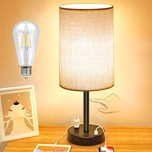 Usb Table Lamp Touch Control Desk Lamp With 3 Usb Charging Ports Amp 2 Ac Outlet 3 Level Brightness 7ft Power In 2021 Bedside Lamps With Usb Bedside Lamp Table Lamp