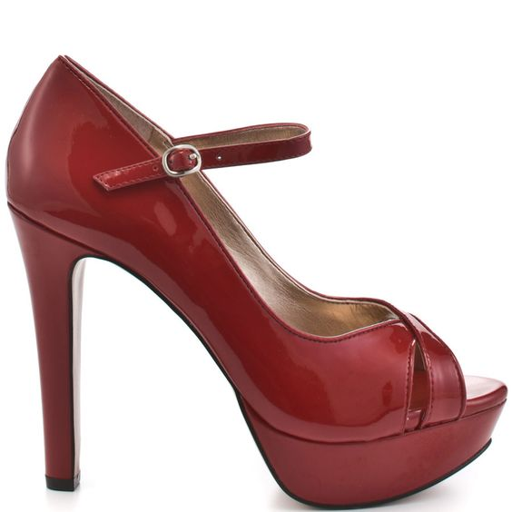 You'll be a man magnet with these smoldering heels from BCBGeneration.  Harley brings you a peep toe mary jane with a sleek red patent upper and adjustable ankle strap.  A 1 inch platform and 4 /12 inch thick heel will give you a confidence boost.