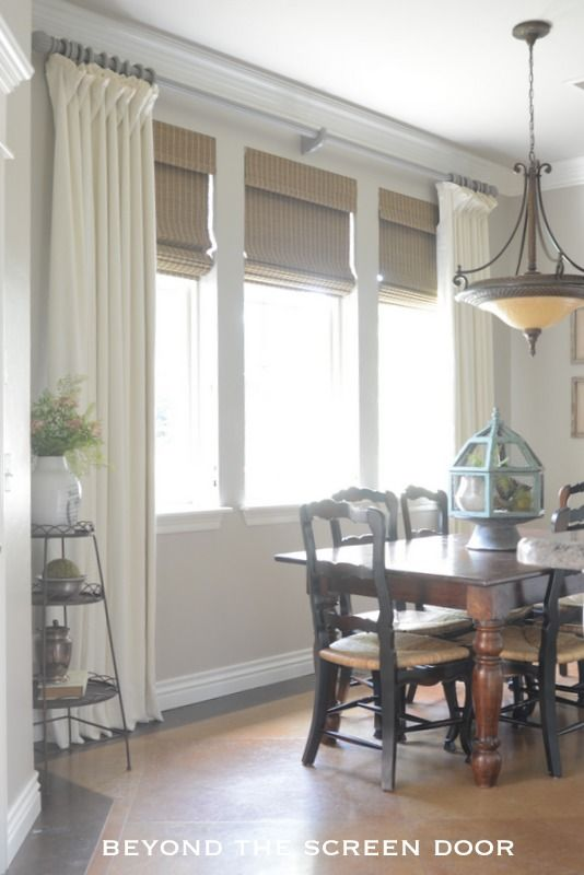 Window treatments linens and gray on pinterest for Linen shades window treatments