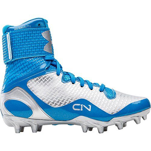 blue and white under armour football cleats