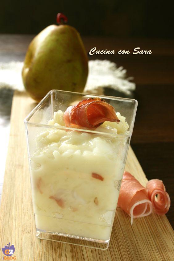 Risotto pere, taleggio e speck - versione finger food