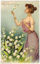 POSTCARD FRENCH ART NOUVEAU 1904 WOMAN WITH LILIES OF THE VALLEY MUGUET