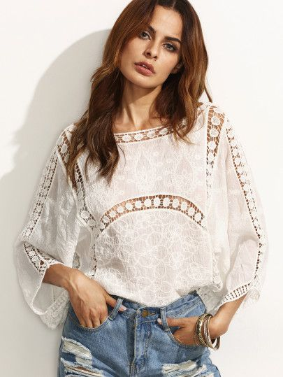 Shop Hollow U Back 3/4 Length Sleeve Blouse online. SheIn offers Hollow U Back 3/4 Length Sleeve Blouse & more to fit your fashionable needs.
