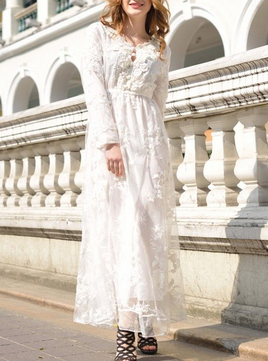 New Sweet Style Slim V-neck Embroidery Lace Bohemian Dress--Click the picture to visit our wesbite.>>Shop price:US$28.91. #shoes #wholesale #fashion #lovely #cheap #Korean #dress #sexy #clothes