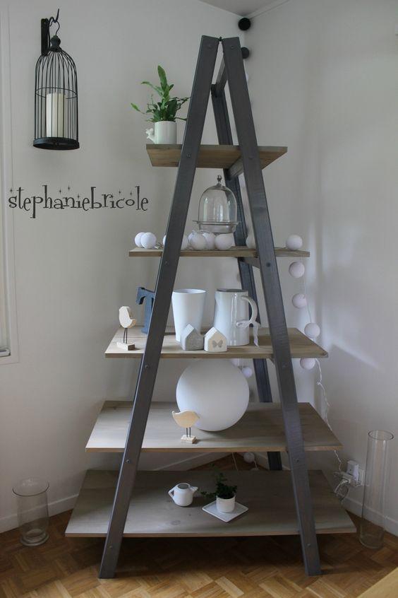 id e d co faire un meuble tag re avec une chelle double google diy and crafts and blog. Black Bedroom Furniture Sets. Home Design Ideas