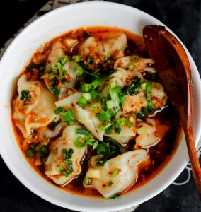 Sichuan style red oil wonton