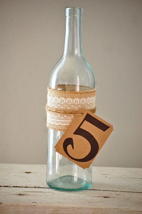 Rustic wedding table number wine bottle table number for Wedding table decorations with wine bottles
