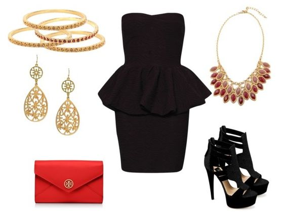 A little black peplum dress! Accessorize with darker tones for a night out.