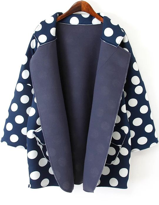 Navy Lapel Long Sleeve Polka Dot Coat 21.33
