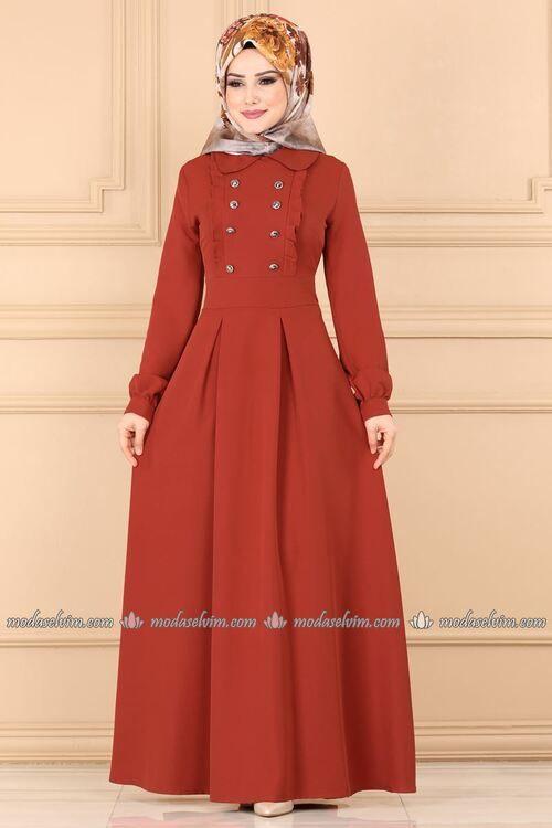 Modaselvim Elbise Aksesuar Dugmeli Elbise 139mc359 Kiremit Islami Giyim Elbiseler Elbise