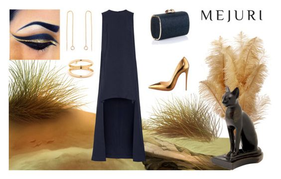 """Grace: Jen Chae x Mejuri"" by christine-mack ❤ liked on Polyvore featuring Rosetta Getty, Christian Louboutin, Jimmy Choo, modern, contestentry and jenchaexmejuri"