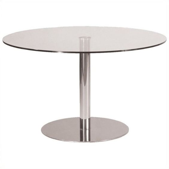 AEON Furniture Kate-1 Dining Table ($400) ❤ liked on Polyvore featuring home, furniture, tables, dining tables, chrome, contemporary table, chrome kitchen table, contemporary furniture, modern contemporary furniture and chrome furniture