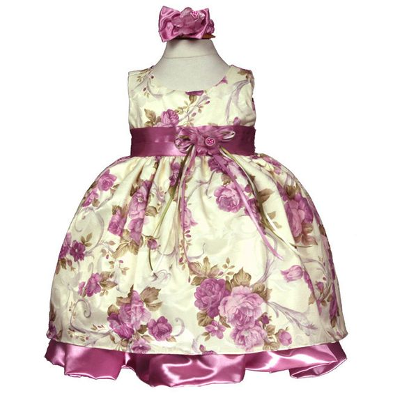 Romantic French Rose Baby Dress in Dusty Rose, Floral Baby Dress
