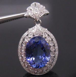 7.518 Ct Natural Tanzanite and Diamond Pendant 18K White Gold Price: US $2,500.00 or Make Offer