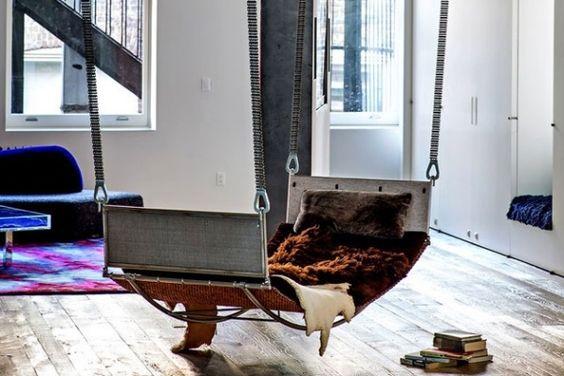 Indoor Schaukel-Design Modern-Felldecke Schokoladenbraun-weich