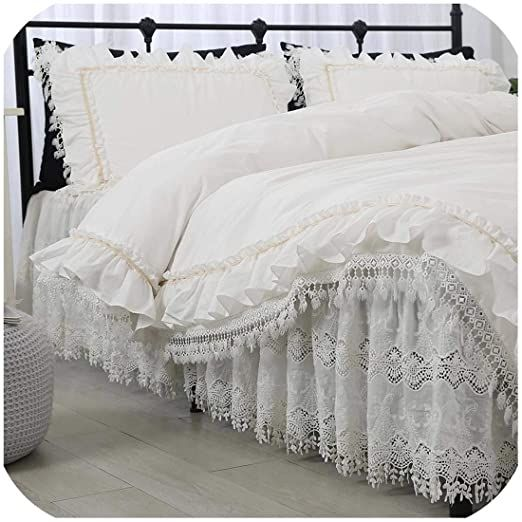 Magic Day Princess Ruffles White Lace Cutout Embroidered Luxury Bedding Set Cotton Bed Skirt Bedspreads King Luxury Bedding Set Lace Bedding Set Luxury Bedding Comforter sets with bed skirts