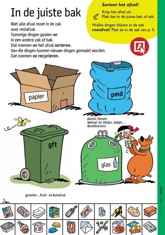 Sorteer het afval in de juiste bak - werkblad @keireeen