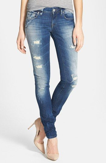 distressed denim skinny jeans - Jean Yu Beauty
