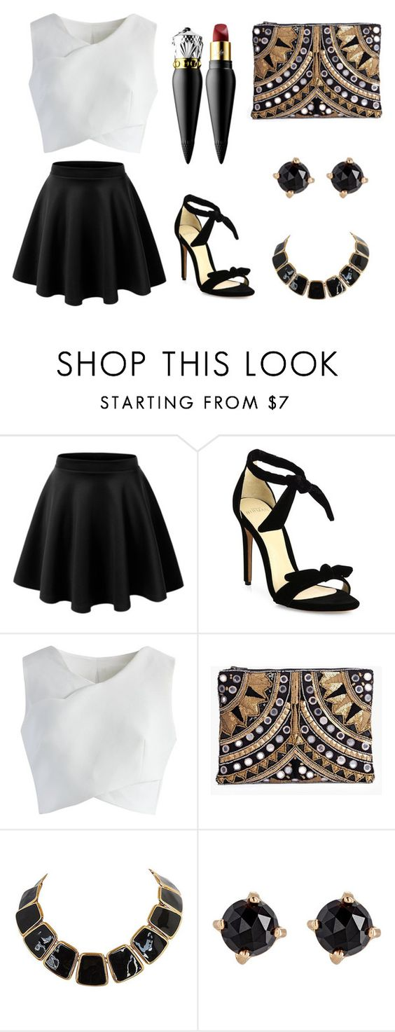 """""""Night Out"""" by jennation ❤ liked on Polyvore featuring LE3NO, Alexandre Birman, Chicwish, Boohoo, Irene Neuwirth and Christian Louboutin"""