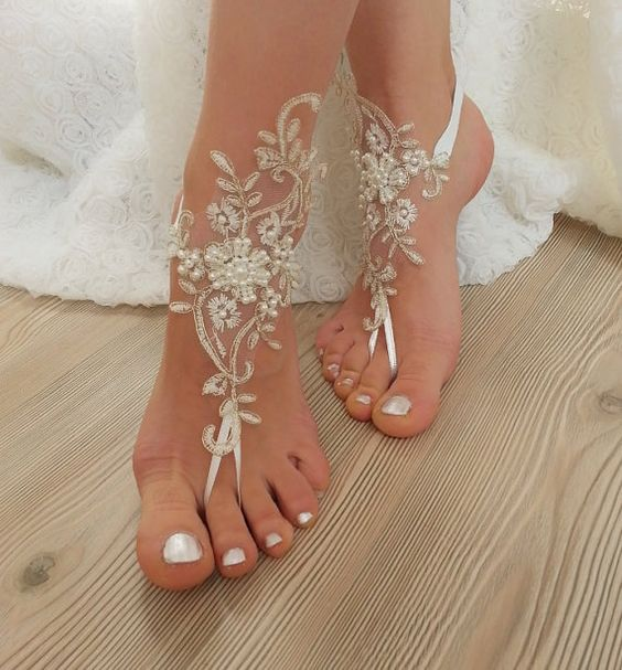 ivory gold beaded, pearl frame Beach, wedding barefoot sandals, Ivory Barefoot Sandals, Sexy, Anklet , Bellydance, Steampunk, Beach Pool:
