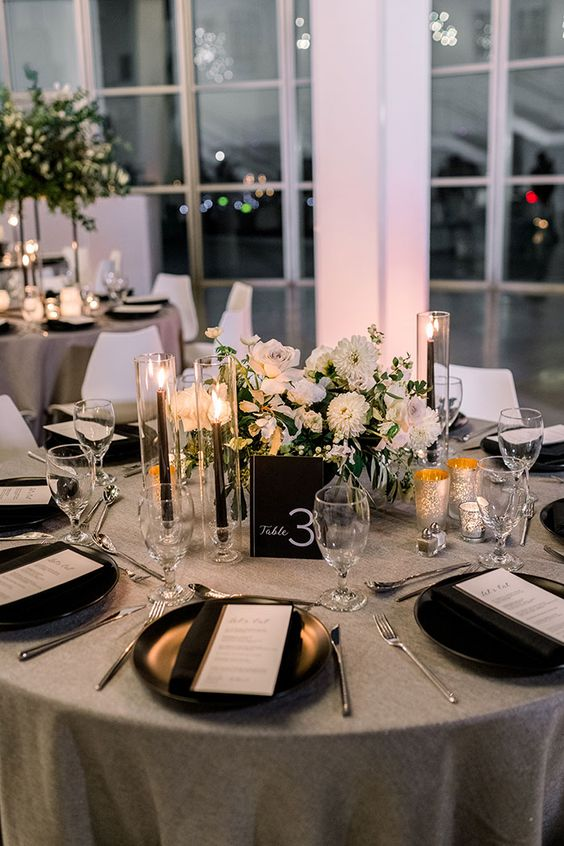 White Round Tables with a Black Chiffon Runner? 2