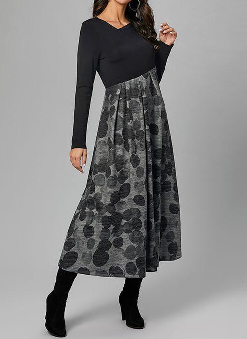 Casual Lange Armel Gepunktet Midi Kleider Floryday Fashion Floryday Midi Skirt