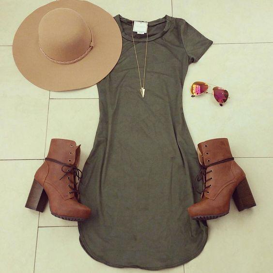 kimberlyx3youShae Suede Olive Dresses only @gia_monae ❤ Code: KIMXOXO to save